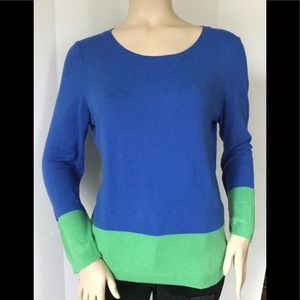Talbots Sz L Color Block Long Sleeve Knit Sweater
